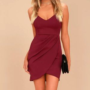 LULU'S Forever Your Girl Wine Red Bodycon Dress